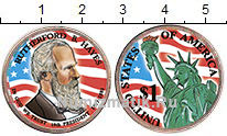 Изображение Цветные монеты США 1 доллар 2011 Латунь UNC 19-й президент. Рате