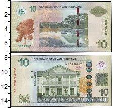 Изображение Банкноты Южная Америка Суринам 10 долларов 0  UNC