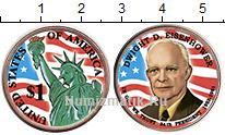 Изображение Цветные монеты США 1 доллар 2015  UNC- 34-й президент США.