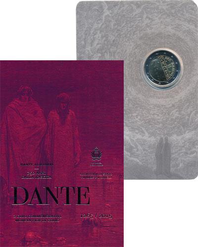 Изображение Подарочные монеты Сан-Марино 750 лет со дня рождения Данте Алигьери, 2015 Биметалл UNC