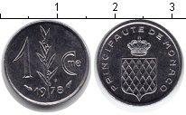Изображение Мелочь Монако 1 сентим 1978 Медно-никель XF