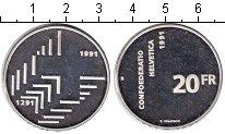 Изображение Монеты Швейцария 20 франков 1991 Серебро Proof-