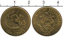 Изображение Мелочь Сейшелы 10 центов 1982 Медь AUNC KM#48.1. Рыбка