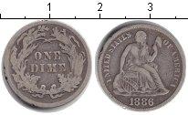 Изображение Монеты Северная Америка США 1 дайм 1886 Серебро VF