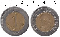 Изображение Дешевые монеты Турция 1 лира 2005 Биметалл XF