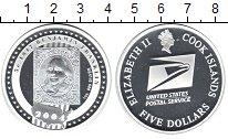 Изображение Монеты Острова Кука 5 долларов 2004 Серебро Proof Почта США. Бенжамин