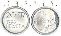 Изображение Монеты Швейцария 20 франков 1998 Серебро UNC-