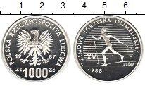 Изображение Монеты Польша 1000 злотых 1987 Серебро Proof- Зимние Олимпийские и