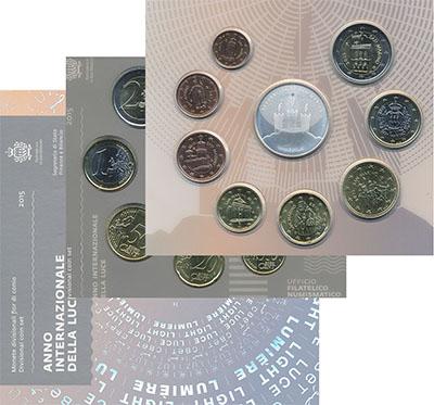 Изображение Подарочные монеты Сан-Марино Годовой Евронабор 2015 года 2015  UNC
