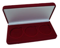 Изображение Аксессуары для монет Бархат Подарочный футляр на 3 монеты в капсулах (Ø ячеек 46мм) 0   Футляр на 3 монеты в