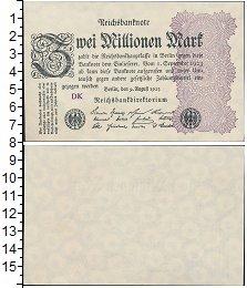 Изображение Банкноты Веймарская республика 2000000 марок 1923  UNC-