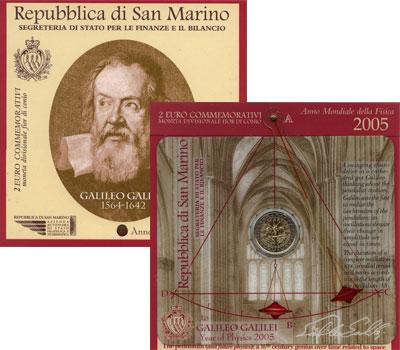 Изображение Подарочные монеты Сан-Марино Галилео Галилей 2005 Биметалл UNC
