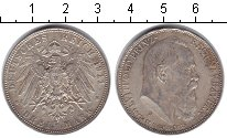 Изображение Монеты Бавария 3 марки 1911 Серебро XF 90-летие принца-реге