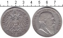 Изображение Монеты Баден 5 марок 1902 Серебро VF