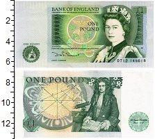 Изображение Банкноты Великобритания 1 фунт 0  UNC- Елизавета II. Исаак