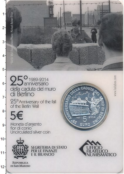 Изображение Подарочные монеты Европа Сан-Марино 5 евро 2014 Серебро UNC