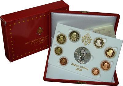 Изображение Подарочные монеты Европа Ватикан Евровыпуск 2008 года 2008  Proof
