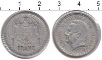 Изображение Мелочь Европа Монако 1 франк 1943 Алюминий XF