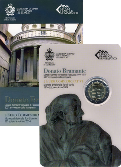 Изображение Подарочные монеты Сан-Марино Донато Браманте 2014 Биметалл UNC