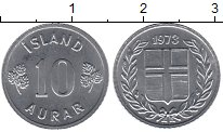 Изображение Мелочь Европа Исландия 10 аурар 1970 Алюминий XF