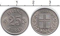 Изображение Мелочь Европа Исландия 25 аурар 1963 Медно-никель XF