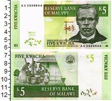 Изображение Банкноты Малави 5 квач 1989  UNC Портрет Д. Чилембве.