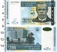 Изображение Банкноты Малави 200 квач 2001  UNC Портрет Д. Чилембве.