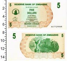 Изображение Банкноты Зимбабве 5 долларов 2007  UNC