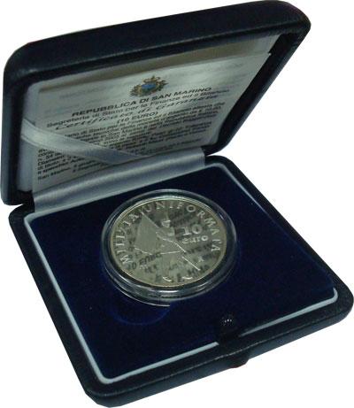 Изображение Подарочные монеты Европа Сан-Марино 500-летие милиции Сан-Марино 2005 Серебро Proof