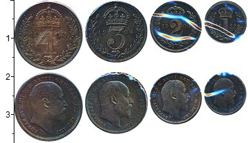 Изображение Наборы монет Великобритания Маунди-сет 1907 (Благотворительный набор) 1904 Серебро Prooflike