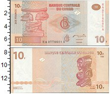 Изображение Банкноты Африка Конго 10 франков 0  UNC-