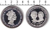 Изображение Монеты Теркc и Кайкос 1 крона 1991 Серебро Proof-