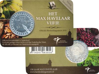 Изображение Подарочные монеты Нидерланды `150 лет роману ``Макс Хавелаар``` 2010 Серебро Proof