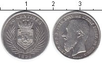 Изображение Монеты Африка Конго 50 сентим 1896 Серебро VF