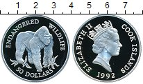Изображение Монеты Острова Кука 50 долларов 1992 Серебро Proof- Елизавета II. Горилл