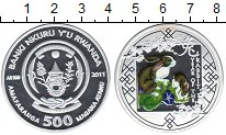 Изображение Монеты Африка Руанда 500 франков 2011 Серебро Proof-
