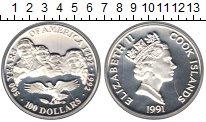 Изображение Монеты Новая Зеландия Острова Кука 100 долларов 1991 Серебро Proof-