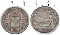 Изображение Монеты Европа Испания 1 песета 1870 Серебро VF