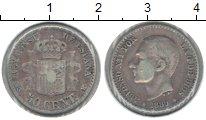 Изображение Монеты Испания 50 сентим 1880 Серебро VF