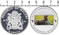 Изображение Монеты Малави 10 квач 2004 Посеребрение Proof- Природа-мать. Леопар