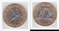 Аукцион: лот Франция 10 франков Би-металл: центр - никель, кольцо - алюминиевая бронза 1990