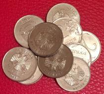 Аукцион: лот Современная Россия монетный брак, номиналом 2 руб. 10 шт. Не указан 2009-2014