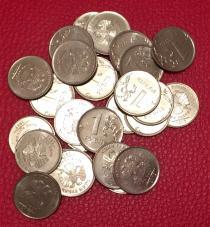 Аукцион: лот Современная Россия монетный брак, номиналом 1 руб. 44 шт. Не указан 2009-2014