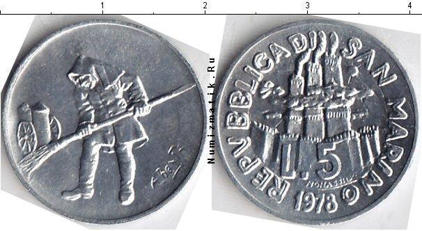 Каталог монет - Сан-Марино 5 лир