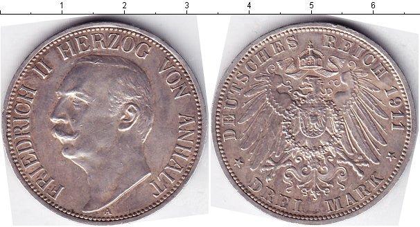 Каталог монет - Анхальт-Дессау 3 марки