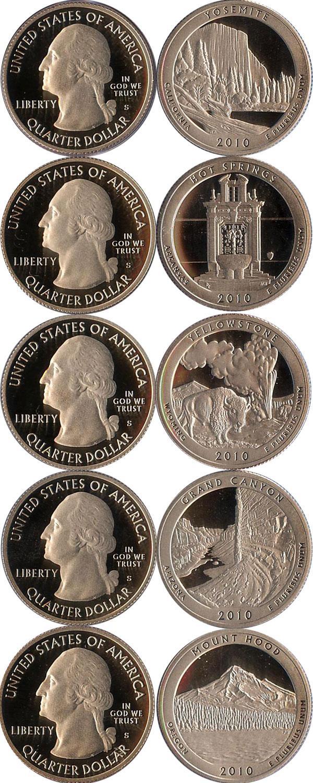 Каталог монет - США Выпуск 2010 пруф-сет-квотеры
