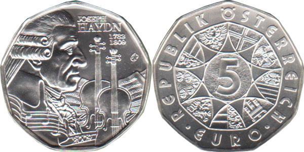 Каталог монет - Австрия Йозеф Гайдн- композитор