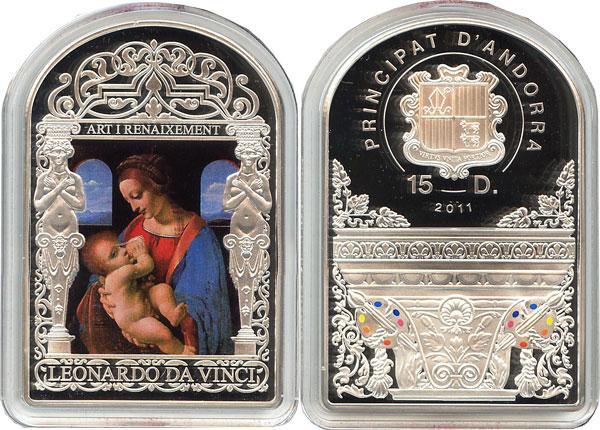 Каталог монет - Андорра Леонардо да Винчи, Мадонна Литта с ребёнком