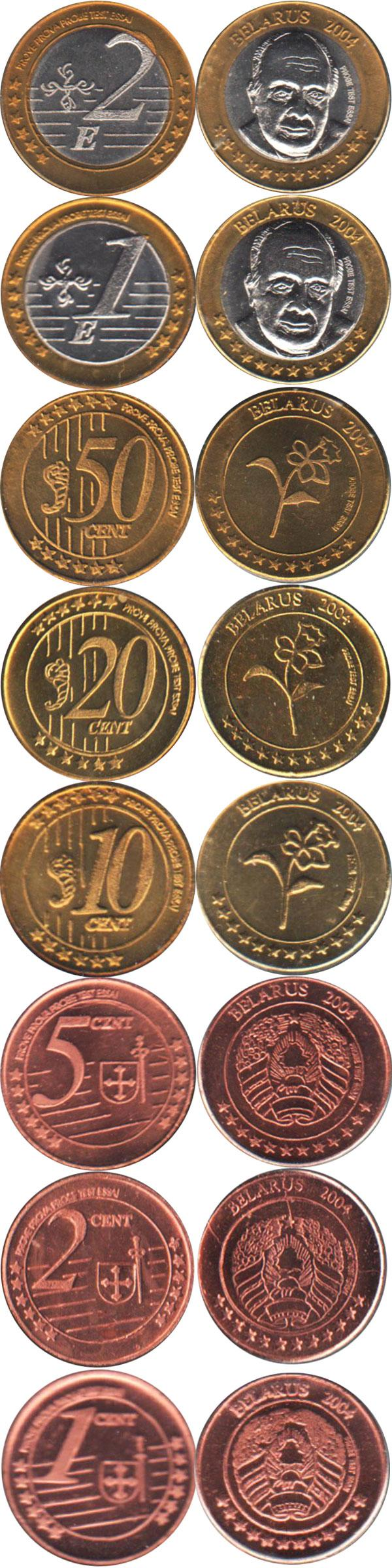 Каталог монет - Беларусь Пробник-евронабор 2004