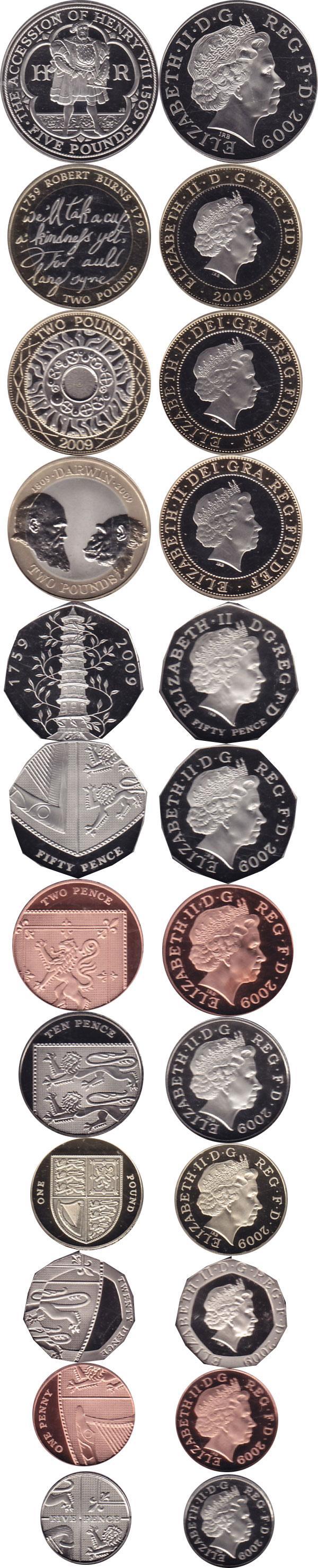 Каталог монет - Великобритания Новые гербы 2009